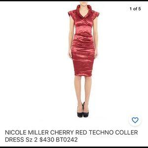 NICOLE MILLER CHERRY RED TECHNO COLLER DRESS Sz 2
